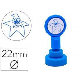 Sello artline emoticono estrella triste color azul 22 mm diametro