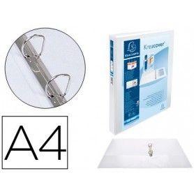 Carpeta exacompta canguro 2 anillas 30 mm din a4+ carton forrado polipropileno personalizable 3 bolsillos