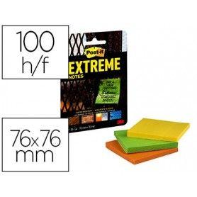 Bloc de notas adhesivas quita y pon post-it extreme 76x76 mm con 45 hojas pack de 3 unidades amarillo naranja y