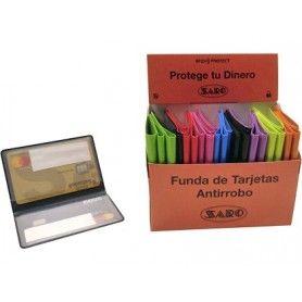 Funda portatarjetas saro antirrobo datos doble cara capacidad 4 tarjetas colores surtidos 65 x 95 mm