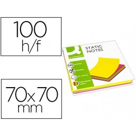 Bloc de notas magneticas quita y pon q-connect 70x70 mm 100 hojas 5 colores fluorescentes