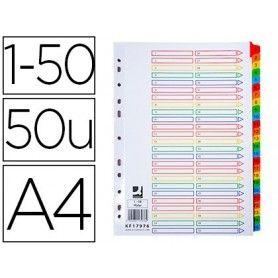 Separador numerico q-connect plastico 1-50 juego de 50 separadores din a4 multitaladro