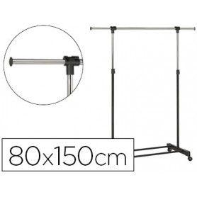 Perchero unilux extensible con 4 ruedas giratorias ajustable altura negro/cromado 80/150 x