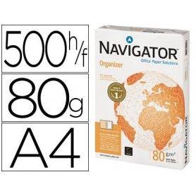 Papel fotocopiadora navigator din a4 80 gramos 2 taladros papel multiuso ink-jet y laser paquete de 500 hojas