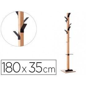 Perchero madera paperflow haya 8 colgadores con paraguero negro altura 180 cm
