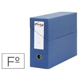 Caja transferencia pardo folio forrado extra doble lomo 80 mm estuche interior con tarjetero azul