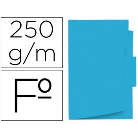 Subcarpeta cartulina gio folio pestaña central 250 g/m2 azul