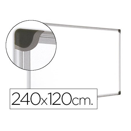 Pizarra blanca bi-office magnetica maya w ceramica vitrificada marco de aluminio 240 x 120 cm con bandeja para