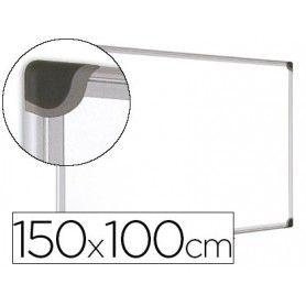 Pizarra blanca bi-office magnetica maya w ceramica vitrificada marco de aluminio 150 x 100 cm con bandeja para