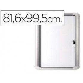 Vitrina de anuncio bi-office magnetica 816x995 mm para exterior con marco de aluminio y cerradura