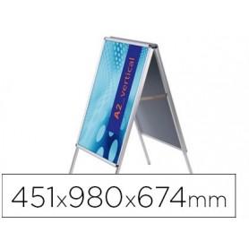 Caballete para poster jensen display aluminio doble cara din a2 marco de 25 mm con cantoneras 451 x 980 x 674 mm