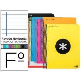 Cuaderno espiral liderpapel folio antartik tapa plastico 80h 100 gr horizontal con margen colores surtidos