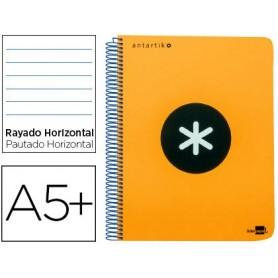 Cuaderno espiral liderpapel a5 antartik tapa dura 80 h 100 g horizontal con margen color naranja fluorescente