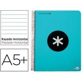 Cuaderno espiral liderpapel a5 antartik tapa dura 80h 100 gr horizontal con margen color turquesa