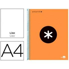 Cuaderno espiral liderpapel a4 micro antartik tapa forrada 120h 100 gr liso con bandas 4 taladros color naranja fluor r