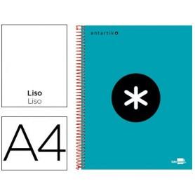 Cuaderno espiral liderpapel a4 micro antartik tapa forrada 120h 100 gr liso con bandas 4 taladros color turquesa