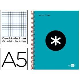 Cuaderno espiral liderpapel a5 micro antartik tapa forrada 120h 100 gr cuadro5mm bandas 6 taladros color turquesa