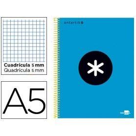 Cuaderno espiral liderpapel a5 micro antartik tapa forrada 120h 100 gr cuadro5mm 5 bandas 6 taladros color azul