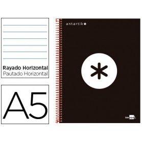 Cuaderno espiral liderpapel a5 micro antartik tapa forrada 120h 100 gr horizontal 5 bandas 6 taladros color negro