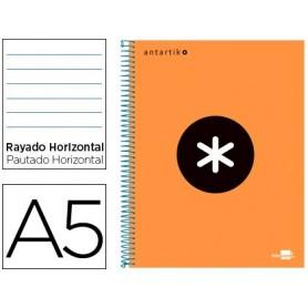 Cuaderno espiral liderpapel a5 micro antartik tapa forrada 120h 100 gr horizontal 5 bandas 6 taladros color naranja flfl