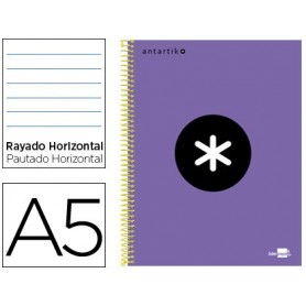 Cuaderno espiral liderpapel a5 micro antartik tapa forrada 120h 100 gr horizontal 5 bandas 6 taladros color violeta