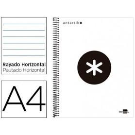 Cuaderno espiral liderpapel a4 micro antartik tapa forrada 120h 100 gr horizontal 5 bandas 4 taladros color blanco