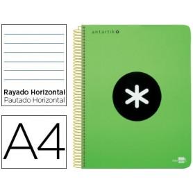 Cuaderno espiral liderpapel a4 micro antartik tapa plastico 120h 100 gr horizontal 5 bandas 4 taladros verde fluor
