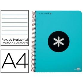 Cuaderno espiral liderpapel a4 micro antartik tapa plastico 120h 100 gr horizontal 5 bandas 4 taladros turquesa