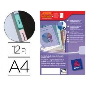 Separador avery de plastico con 12 pestañas personalizable tamaño a4+