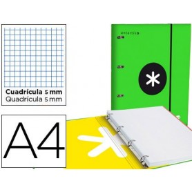 Carpeta con recambio y solapa liderpapel antartik a4 cuadro 5 mm forrada 4 anillas redondas 40mm color verde