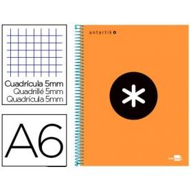 Cuaderno espiral liderpapel a6 micro antartik tapa forrada 100h 100 gr cuadro 5 mm 4 bandas color naranja