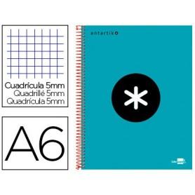 Cuaderno espiral liderpapel a6 micro antartik tapa forrada 100h 100 gr cuadro 5 mm 4 bandas color turquesa