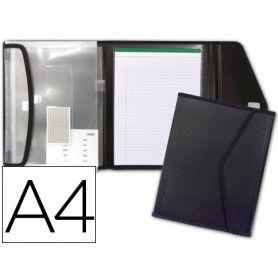 Carpeta liderpapel portadocumentos polipropileno con 5 bolsas y bloc de notas cierre de velcro din a4 negro