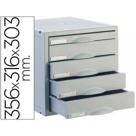Fichero cajones de sobremesa archisystem 356x316x303 mm 5 cajones color gris 4 de 52mm y 1 de 22mm