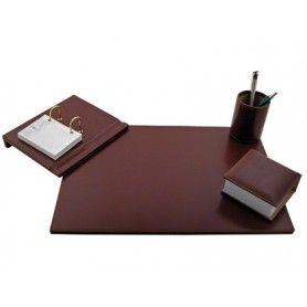 Escribania sobremesa polipiel juego de 4 piezas color marron