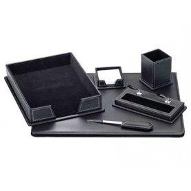 Escribania de sobremesa negro similpiel juego de 6 piezas