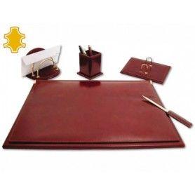 Escribania de sobremesa artesania de piel juego de 5 piezas medidas 40x53,5x2,7 cm.base de madera