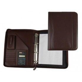 Carpeta portafolios 45-848 marron 260x355 mm cremallera 4 anillas 40 mm calculadora con bolsa para movil