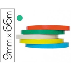 Cinta adhesiva tesa film 66 mt x 9 mm verde -para cerrar bolsas