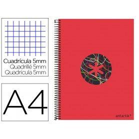 Cuaderno espiral liderpapel a4 micro antartik tapa forrada120h 100 gr cuadro 5 banda 4 taladros trending rojo 2020