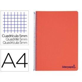Cuaderno espiral liderpapel a4 micro wonder tapa plastico 120h 90 gr cuadro 5 mm 5 bandas 4 taladros color rojo