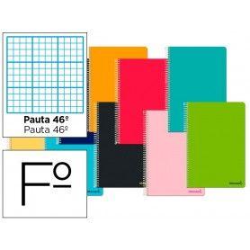 Cuaderno espiral liderpapel folio smart tapa blanda 80h 60gr rayado n 46 colores surtidos