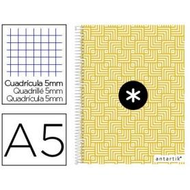 Cuaderno espiral liderpapel a5 micro antartik tapa forrada120h 100 gr cuadro 5mm 5 banda6 taladros trending amarillo