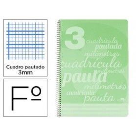 Cuaderno espiral liderpapel folio pautaguia tapa plastico 80h 75gr cuadro pautado 3mm con margen color verde