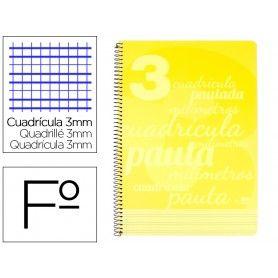 Cuaderno espiral liderpapel folio pautaguia tapa plastico 80h 75gr cuadro pautado 3mm con margen color amarillo