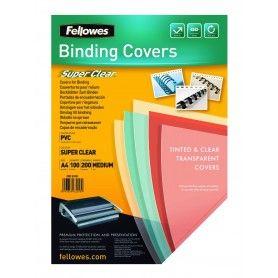 FELLOWES PACK DE 100 PORTADAS PVC TRANSPARENTE CRISTAL A4 150 MICRAS