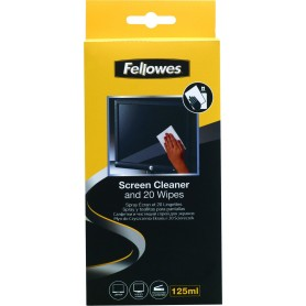 FELLOWES KIT SPRAY LIMPIADOR 125ML + 20 TOALLITAS LIMPIADORAS PANTALLA
