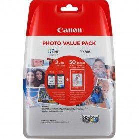 PACK CARTUCHOS DE TINTA CANON PG-545XL + CL-546XL + PAPEL DE FOTO