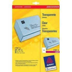 Etiqueta adhesivas avery din a4 imprimibles transparente 210x297 mm caja de 25 hojas con 25 etiquetas