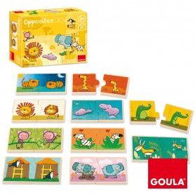 Puzzle goula madera 20 piezas contrarios leo el rey de la selva
